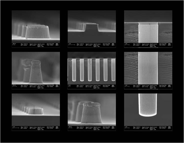 Dépôt ALD d'une couche de TaON (100 nm)  sur des substrats de forme complexe  (tranchées , mésa, plots)